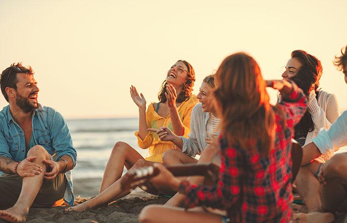 Group on a beach holiday