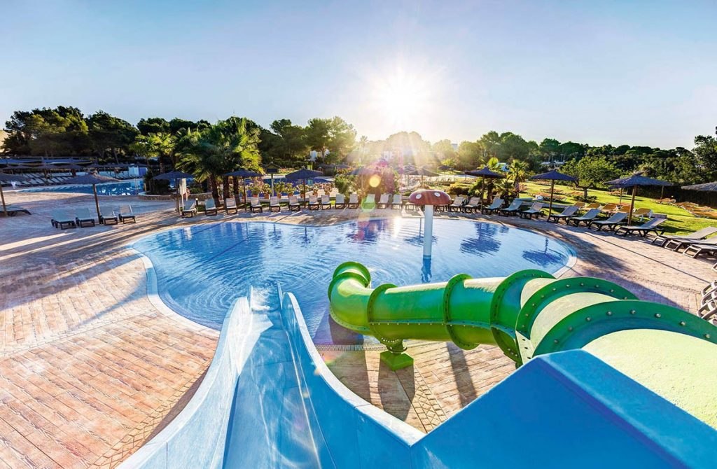 Kids fun slide at family hotel in Ibiza
